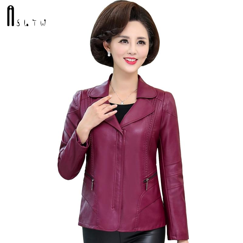 ASLTW XL 6XL 革ジャケット女性新ファッションプラスサイズのジッパーフェイクジャケットコート長袖の女性の革ジャケット  グループ上の レディース衣服 からの レザー & スエード の中 1