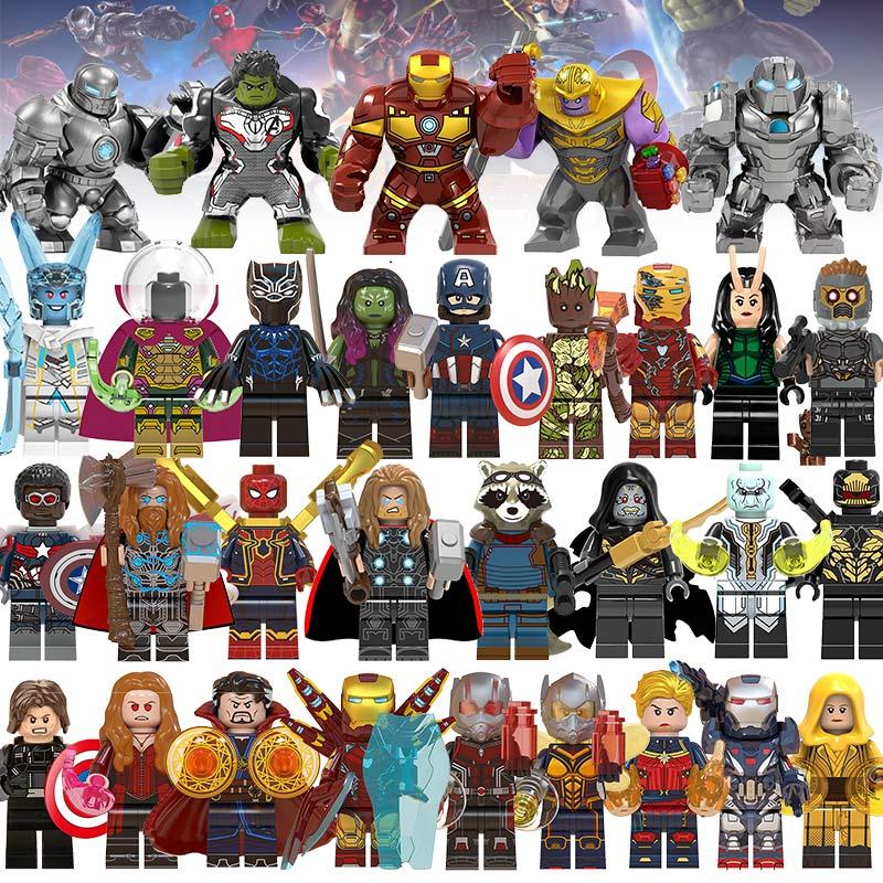 Building Blocks LEGOED Marvel Avengers 4 Super Heroes Infinity War Hulk Machine Figures Iron Man Gauntlet Thanos EndgameToys
