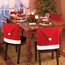 6 шт. Рождественское украшение Санта-Клаус Красная Шапка задняя крышка стула для рождественской вечеринки праздничный ужин Декор Рождественская шапка набор на продажу