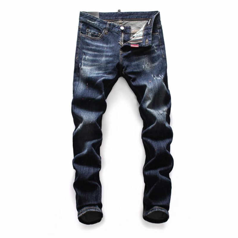 2020 New Dsq Men's jeans Printed With Hole Washed Casual Skinny Denim Jean for man 100% cotton Button Zipper Top Quality