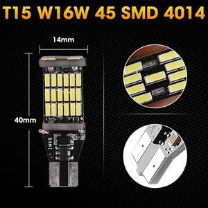 2 Pcs Universal Decoding Auto LED Taillight T15 Bulb 45SMD 6000k White Backup Reverse Brake Stop Lighting B88