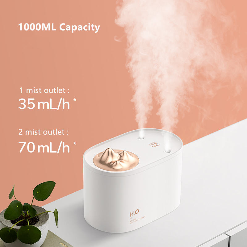 1000ML Large Capacity Ultrasonic Air Humidifier 2 Mist Outlet USB Car Mist Maker Aroma Oil Diffuser Aromatherapy Humidifier Home