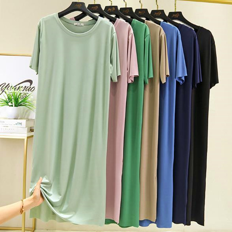 Новинка, ночная рубашка ярких цветов для женщин, Летняя шелковая хлопковая ночная рубашка, повседневные свободные ночные рубашки, студенче...