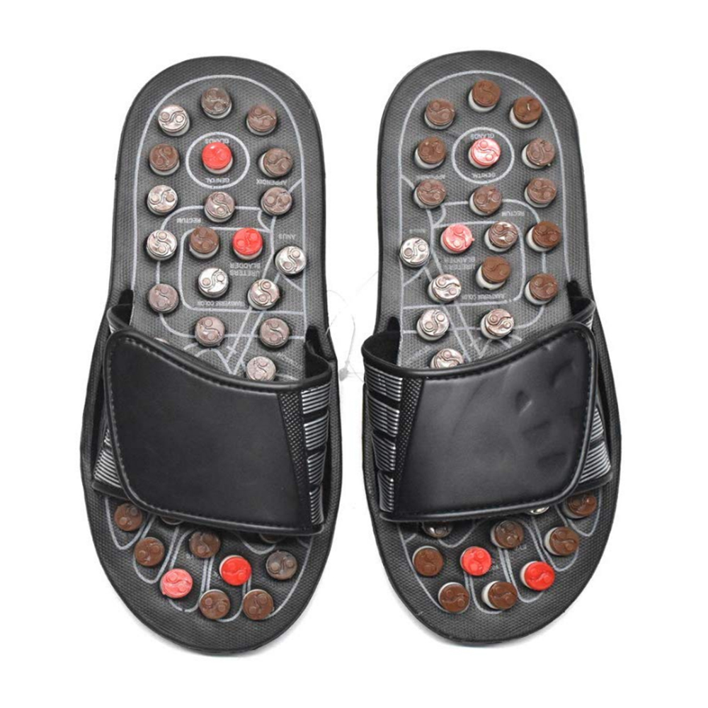 Acupoint Foot Massage Slippers Sandals Feet Acupressure Therapy Activating Reflexology Health Care For Men Women Black 1