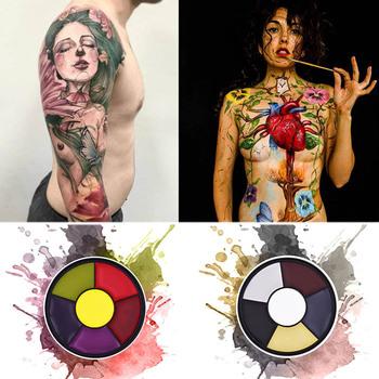 Farba do twarzy tatuaż paleta do twarzy malowania ciała Airbrush obraz olejny impreza z okazji Halloween fantazyjne pędzel do makijażu fantazyjne karnawał artystyczny obraz tanie i dobre opinie s6-2 Farba ciała 1pcs Body Paint body glitter concealer foundation makeup brush eyebrow stencil henna