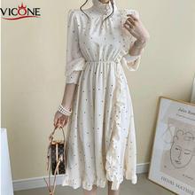 Женское винтажное платье миди с длинным рукавом и круглым вырезом