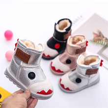 New Winter Plush Baby Girls Snow Boots Warm Shoes Pu Leather Flat With Baby Toddler Shoes Outdoor Snow Boots Girls Kids Shoes winter 2018 girls sheepskin wiz fur leopard print snow boots baby toddler little kid outdoor warm fashion children brand shoes