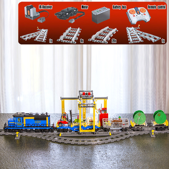 In Stock City Series Remote Control Cargo Train Set 02008 02009 Building Blocks Bricks 60052 Children Educational Toys Gifts