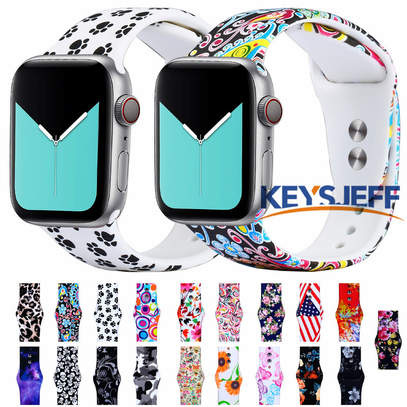 Floral Band For Apple Watch Band 38mm 40mm 42mm 44mm Fadeless Pattern Printed Bands For IWatch Band Strap Bracelet 5/4/3 81023
