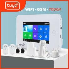 Awaywar wi fi gsm sistema de alarme segurança em casa inteligente kit tuya 4.3 polegada touch screen app controle remoto rfid braço desarmar