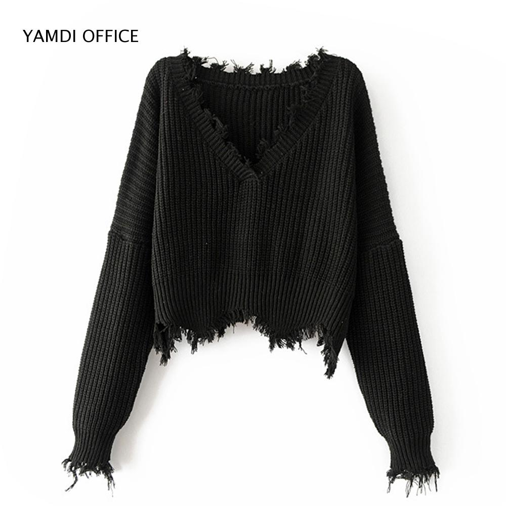 YAMDI 2019 NEW Women Tassel Sweater Autumn Winter Solid Orange White Black Sweaters Cropped Jumpers V Neck Sexy Knitted Pullover