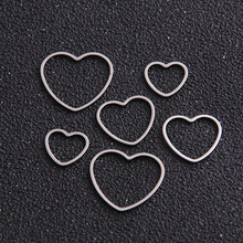 Heart Charm Bezel Pendant Jewelry-Making Resin Frame DIY Stainless-Steel Hollow Pressed