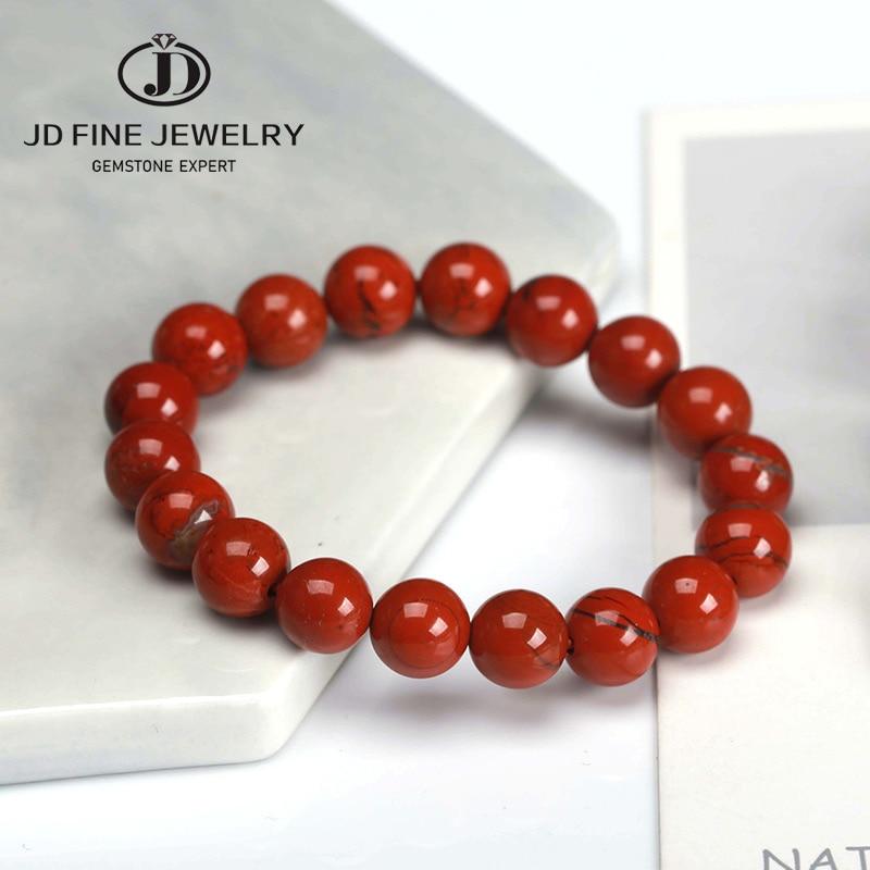 JD круглые полудрагоценные бусины из натуральной красной яшмы, 4-12 мм, браслеты для женщин и мужчин, лечебные ювелирные изделия, аксессуары дл...