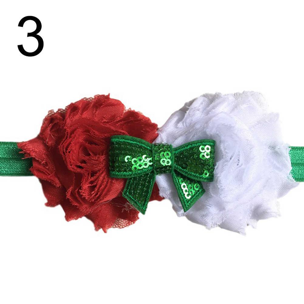 Dziecko dziewczyny boże narodzenie kwiat cekinami łuk z pałąkiem na głowę Party elastyczna opaska do włosów akcesoria do włosów ozdoby do włosów z pałąkiem na głowę akcesoria