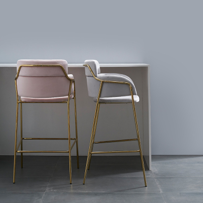 Nordic Simple Front Desk Gold Light Luxury Bar Chair Creative High Stool Flannelette Home Modern Backrest Leisure Bar Stool