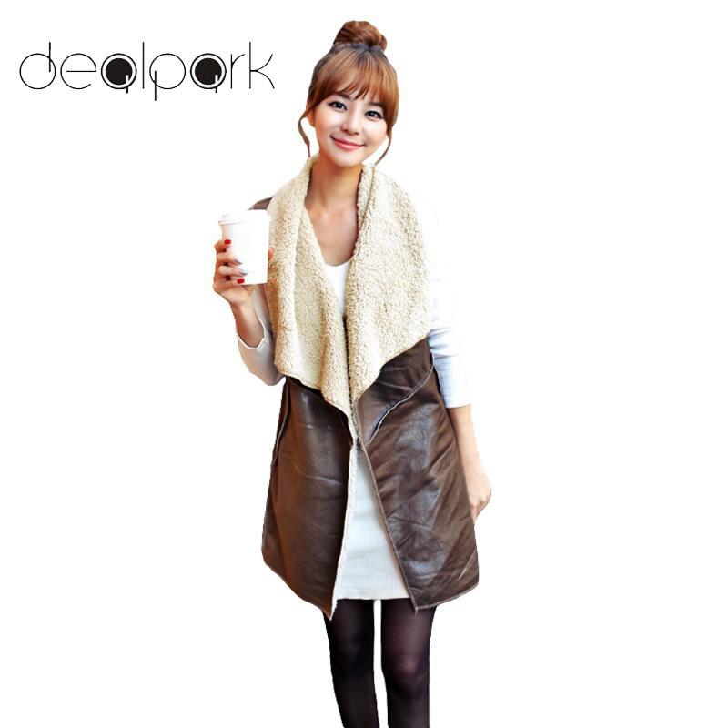 Winter Fashion Fleece Long Vest Female Waistcoat Women Vest Coat Suede Faux Fur Vest Lapel Sleeveless Jacket Outerwear Coffee