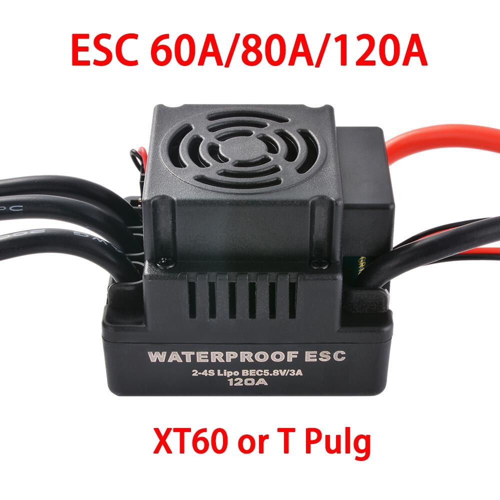 Водонепроницаемый Электронный регулятор скорости ESC 60A 80A 120A для радиоуправляемых автомобилей 5,5 1/8 1:10