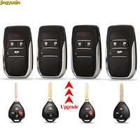 Jingyuqin-carcasa de control remoto plegable para coche, tapa remota, Reiz para Toyota Camry Corolla Rav4 Yaris 4Runner Avlon, botón de 2/3/4
