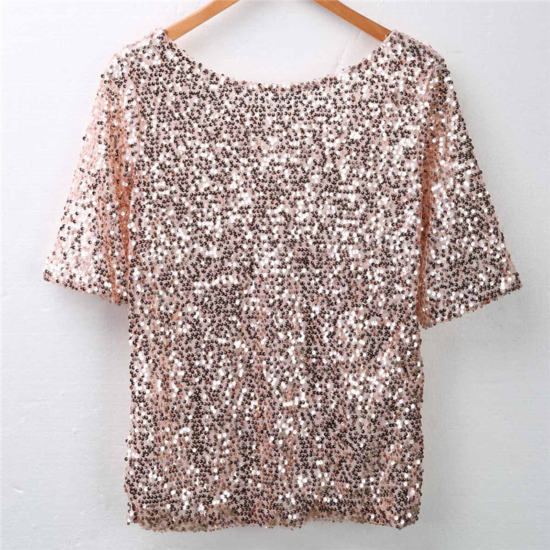 Modis Sexy Women Sequin Blouses New Arrival 2019 Autumn Off Should Long Sleeve Shiny Ladies Shirt Gold Blouse Femme Loose Tops