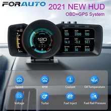 Turbo Boost OBD2 + Gps Smart Snelheidsmeter Auto Gauge Alarmsysteem Auto Universele Multifunctionele Dashboard Head Up Display auto Hud