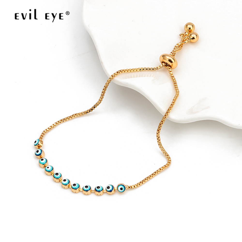 EVIL EYE Dropping Oil Charm Bracelet Gold Color Chain Red Blue Turkish Eye Bracelet Adjustable Jewelry for Women Femme EY6546 image
