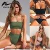 2019 Bikini high waist bikin Women Swimsuit Sexy Bikini Set Solid Bathing Suit Brazilian Beachwear Push Up high waist bikini 1