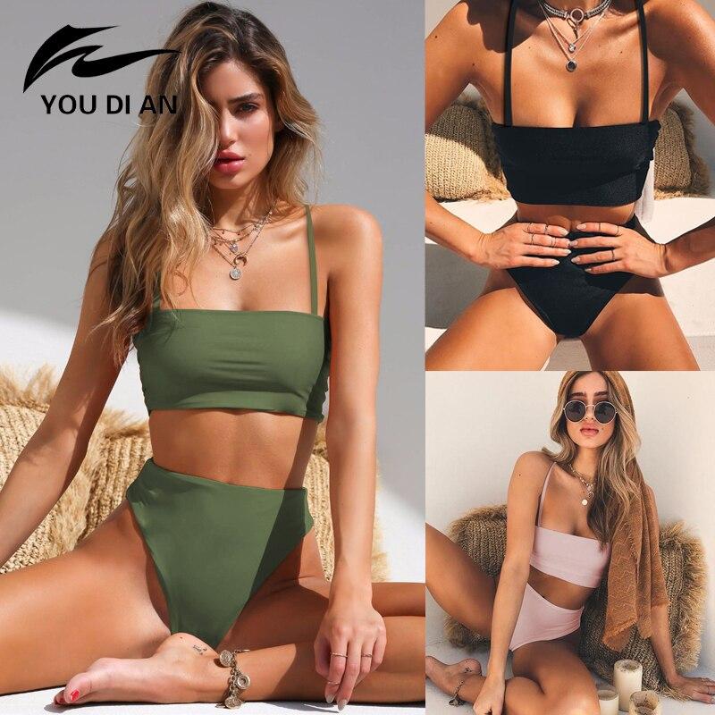 2019 Bikini high waist bikin Women Swimsuit Sexy Set Solid Bathing Suit Brazilian Beachwear Push Up bikini