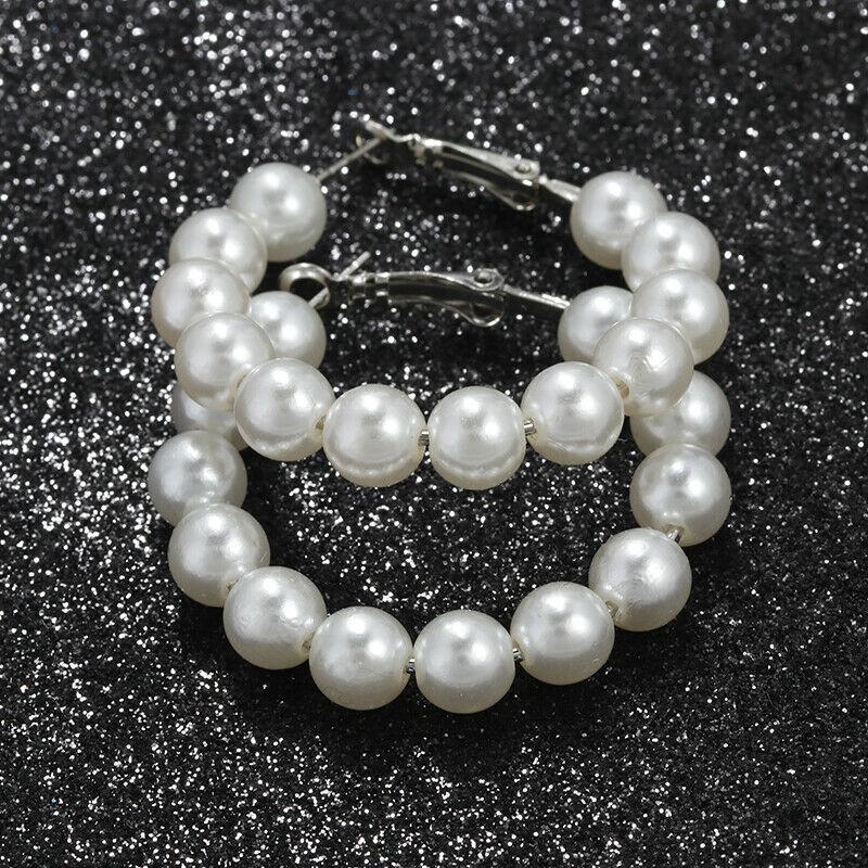 1 Pair Elegant White Pearls Statement Earrings Women Oversize Pearl Circle Ear Rings Earrings 1