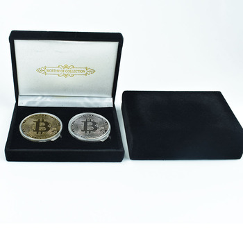 2pcs Bitcoin Coin with Black Gift Box BitCoin Eth Dssh Dogecoin Litecoin  Physical Cryptocurrency Collection Coin 1