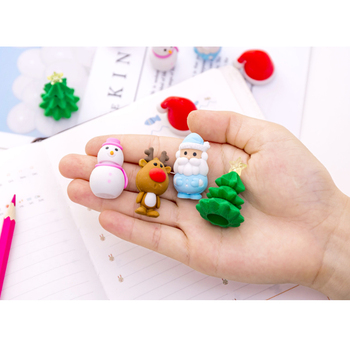 6pcs/lot Lovely Christmas series Santa snowman elk Eraser Rubber Child Gift Pencil Writing Supplies Office School stationery kawaii cartoon hello kitty donut pencil eraser office school correct supplies child writing drawing correction rubber gift