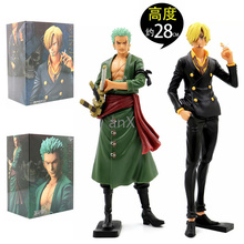 28cm Jpanese Anime One Piece Roronoa Zoro PVC Action Figure Vinsmoke Sanji Sitting Mito Roronoa Zoro Figure Model Toy Kid Gift 6pcs set wcf one piece action figures dolls toys sanji vinsmoke family pvc figure doll