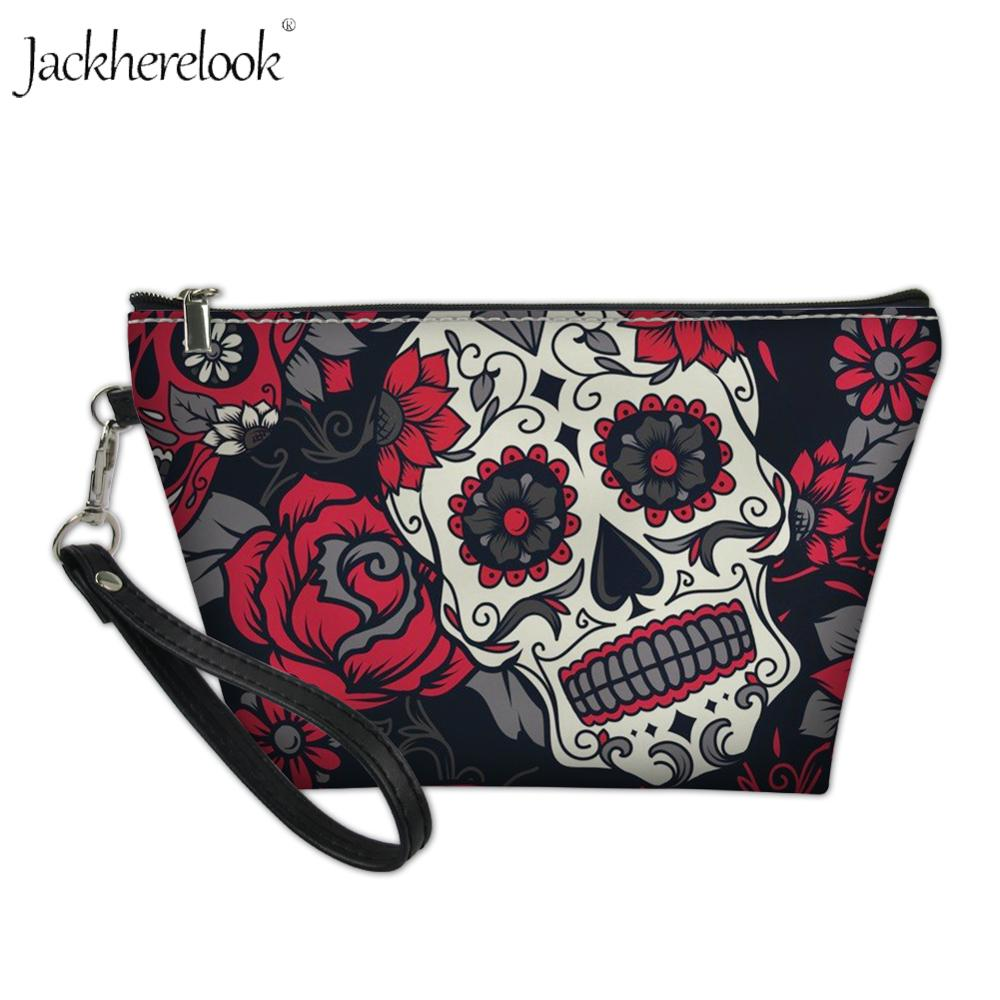 Jackherelook Sugar Skull Printed Mini Makeup Bag Fashion Red Rose Floral Skulls Travel Cosmetic Bags Beautician Storage Case Box