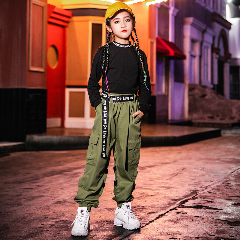 Jazz Dance Costumes Fashion Green Overalls Pants Hop Hop Clothing Girls Street Dancing Outfit Kids Stage Performance Wear DN4157