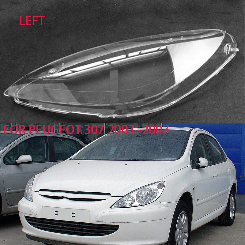 For Peugeot 307 2003-2007 Lens Car Headlight Accessories Headlight Lampshade Transparent Headlight Housing Lens Case Shell Cover