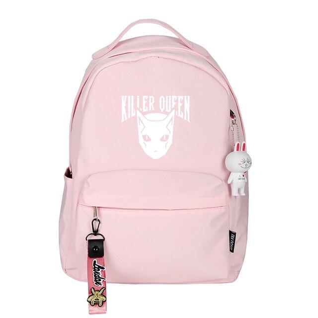 Jo Jo's Bizarre Adventure KILLER QUEEN Pink School Bags for Teenage Girls Nylon Bookbag Women Travel Backpack Anime Rugzak