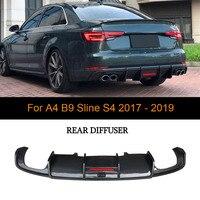 Rear Bumper Lip Diffuser Spoiler For Audi A4 B9 S4 A4 Sedan 2017 2018 2019 Carbon Fiber Diffuser Apron Protecter