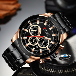 Image 2 - CURREN Classic Black Chronograph Mens Watch Sports Quartz Date Clock Male Watch Stainless Steel Wristwatch Relogio Masculino