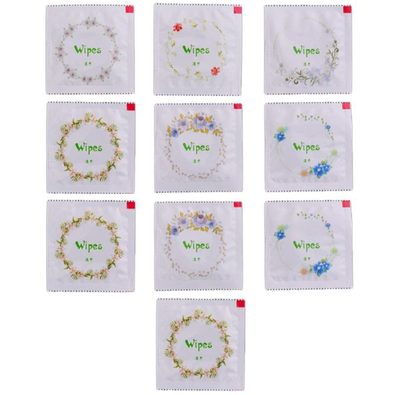 50pcs Cartoon Floral Print Condom Shape Wet Wipes Tissue Hand Face Cleaning