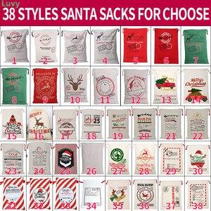 Image 1 - 2020 Новое прибытие 38 стилей Санта мешки Холщовая Сумка 10 шт./лот Санта Клаус мешок Рождество Санта Мешок оптом очень большие рождественские украшения