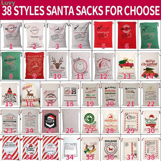 2020 Новое прибытие 38 стилей Санта мешки Холщовая Сумка 10 шт./лот Санта Клаус мешок Рождество Санта Мешок оптом очень большие рождественские украшения