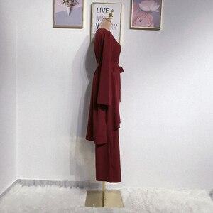 Image 4 - アバヤドバイイスラム教徒ヒジャーブドレスカフタンarabes mujerカフタントルコイスラムの服アンサンブルファムmusulmane 2個