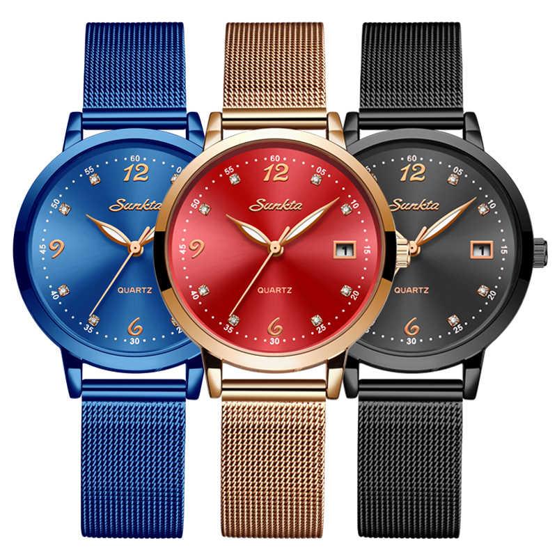 SUNKTA New kobiety luksusowej marki zegarek proste Quartz Lady zegarek wodoodporny, żeński, moda Casual zegarki zegar reloj mujer