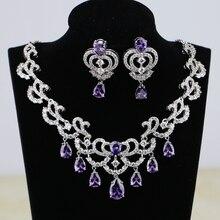 Water Drop Purple CZ White Zircon Women Silver Color Bridal Jewelry Wedding Earrings Pendant Necklace Sets