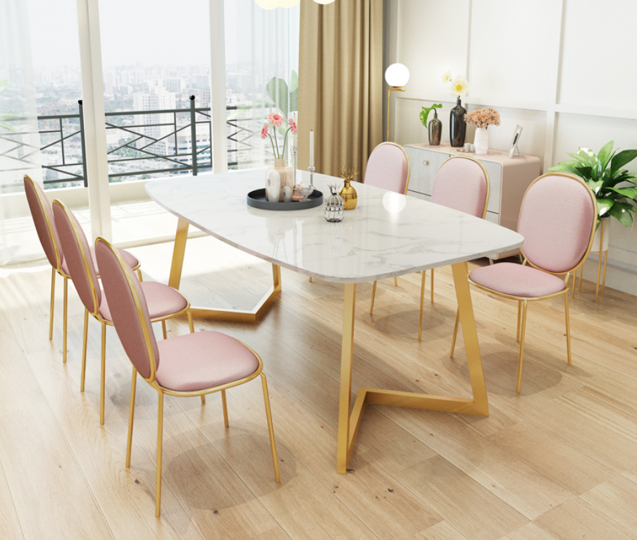 Light Luxury Marble Dining Table Rectangular Villa Family Dining Table Nordic Dining Table Chair Combination Leather Bag