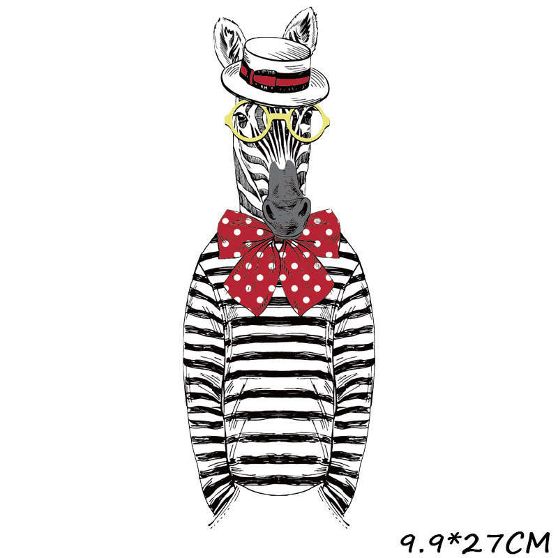 Iron On Transfers For Clothing Diy Patch Hot Stamping T-shirt Cartoon Zebra Pattern