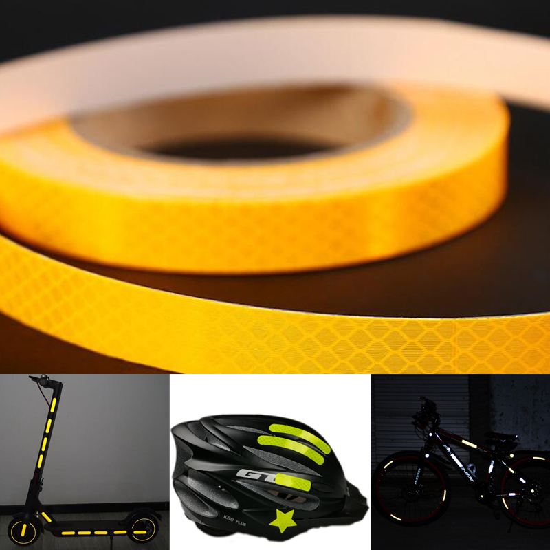 Width 25mm PET Reflective Bicycle Stickers Adhesive Tape For Bike Safety White Red Yellow Bike Stickers Bicycle Accessories