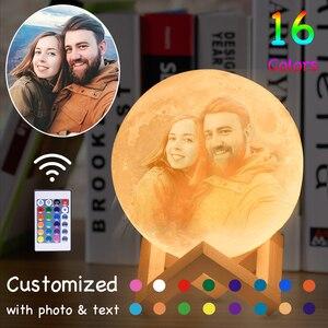 Image 2 - Lámpara de luna para fotos personalizadas, foco para proyectar fotografías, luz nocturna con cargador USB, control de batería, 2/3 colores, regalo para niños, mujer, pareja