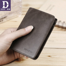 DIDE Brand Genuine Leather mens Wallets For Teenage Male Purse Card Holder Short Vintage Cow Slim thin Wallet