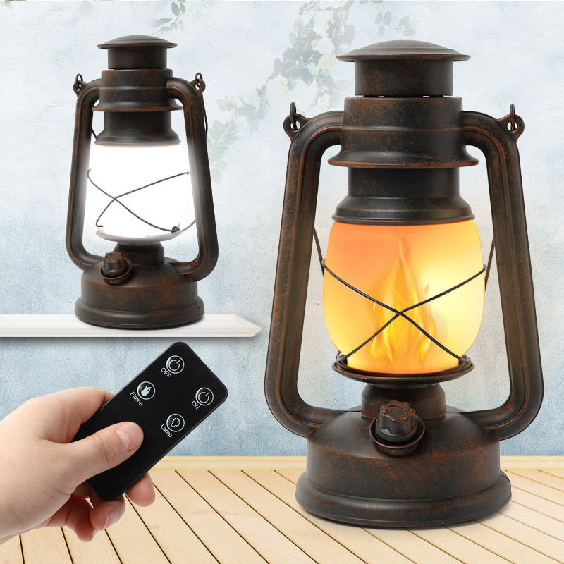 LED Creative Remote Control Flame Lamps Outdoor Indoor European Retro Home Classic Landscape Decorative Lighting Martin Lamp