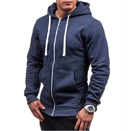 New Spring Autumn Winter Slim Fit Sweatshirt Thick Hooded Tee Zip Mens Long Sleeve Muscle Warm Hoodie Plus Size